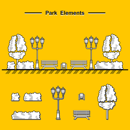 streetlight: Street lamps, urns and benches for design of streets and landscapes. Elements used in the open air on the streets, in parks, on the sidewalks, outdoor Illustration