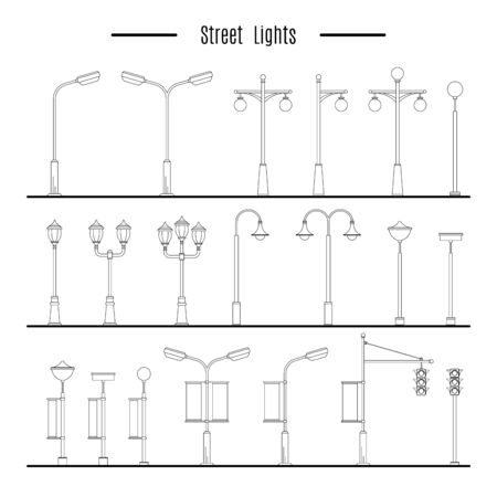outdoor advertising construction: Street lamps, for design of streets and landscapes. Elements used in the open air on the streets, in parks, on the sidewalks, outdoor