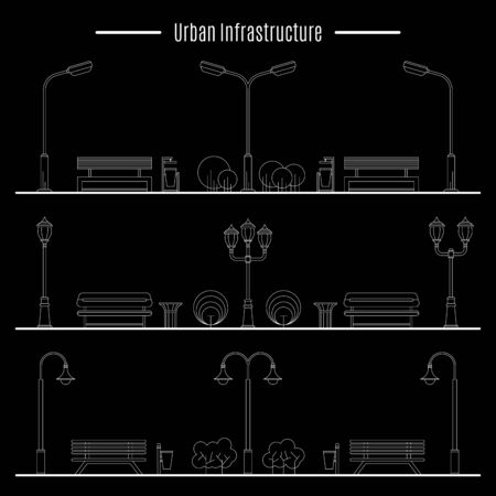 urns: Street lamps, urns and benches for design of streets and landscapes. Elements used in the open air on the streets, in parks, on the sidewalks, outdoor Illustration