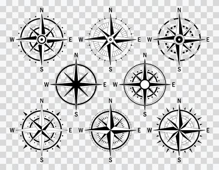 Vector ilustración gráfica. Conjunto de diversas rosas de viento. Tipos de compas aislados. Rosa de viento en el fondo transparente. Ilustración de vector