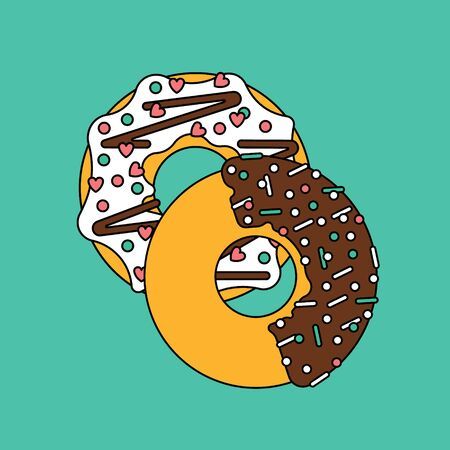 frosting: Vector donut illustration. Donut isolated on a bright background. Donuts fast food restaurant. Deserts food in a flat style. Sweet donuts with frosting and caramel topping. Donut isolated.