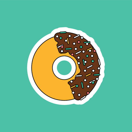 topping: Vector donut illustration. Donut isolated on a bright background. Donuts fast food restaurant. Deserts food in a flat style. Sweet donut with frosting and caramel topping. Donut isolated.