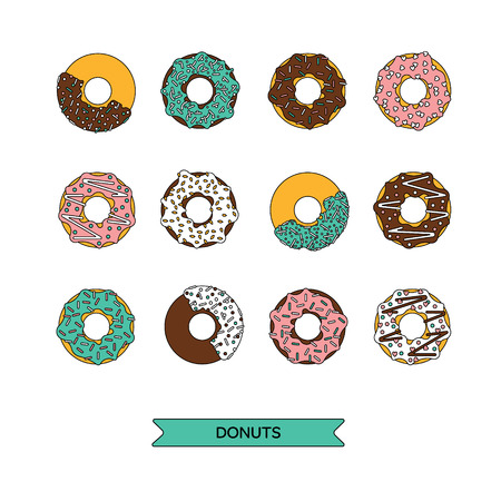 Vector donut illustration. Donut isolated on a white background.  Deserts food in a flat style. Set of sweet donuts with frosting and caramel topping. Donuts icons. Donut isolated.