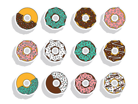 donut style: Vector donut illustration. Donut isolated on a white background.  Deserts food in a flat style. Set of sweet donuts with frosting and caramel topping. Donuts icons. Donut isolated.