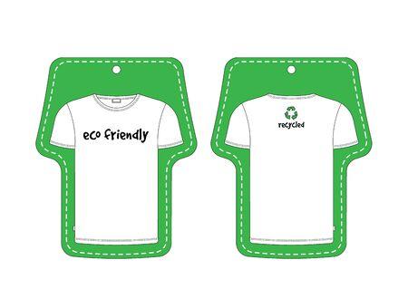 Eco etichetta verde per T-shirt, davanti e dietro nero, isolato su sfondo bianco. Made in vettoriale, facile ricolorare.