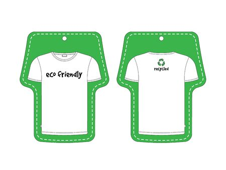 Eco green label for T-Shirt, front and back black, isolated on white background. Made in vector, easy recolor.