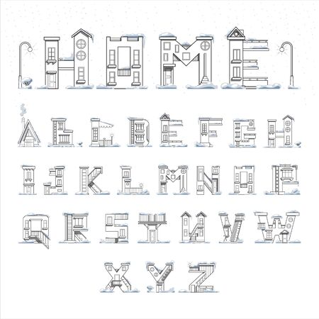 kindergarden: Vector latin letters in the form of houses. Alphabet coloring poster for adults. Poster ideal for decorating a childs room. Illustration