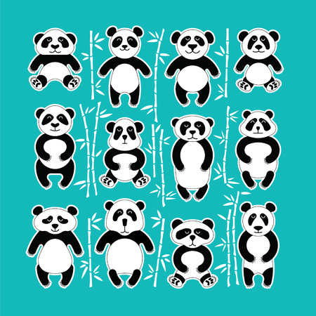 Flat set of pandas surrounded by bamboo. Different cartoon images. Made in vector, easy recolor. Illustration