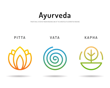healing: Ayurveda illustration doshas vata, pitta, kapha. Ayurvedic body types. Ayurvedic infographic. Healthy lifestyle. Harmony with nature.