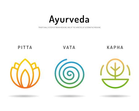 harmony: Ayurveda illustration doshas vata, pitta, kapha. Ayurvedic body types. Ayurvedic infographic. Healthy lifestyle. Harmony with nature.