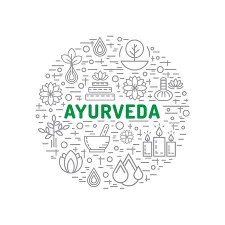 Ayurveda illustratie dosha's vata, pitta, kapha. Ayurvedische types lichaam. Ayurvedische infographic. Gezonde levensstijl. Harmonie met de natuur.