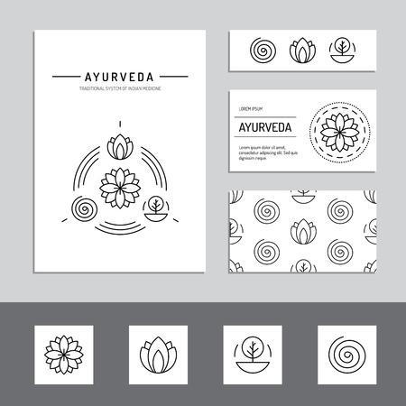 medecine: Ayurveda illustration doshas vata, pitta, kapha. les types de corps ayurvédique. infographique ayurvédique. Style de vie sain. L'harmonie avec la nature.