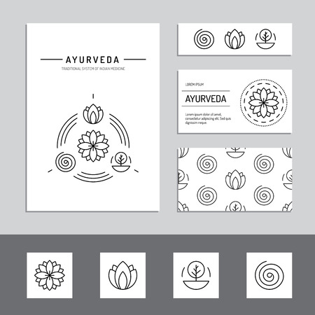 simbolo medicina: Ayurveda ilustración doshas vata, pitta, kapha. tipos de cuerpo de Ayurveda. infografía ayurvédica. Estilo de vida saludable. Armonía con la naturaleza.