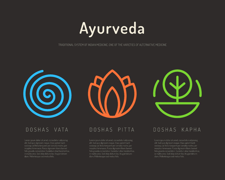 Ayurveda illustration doshas vata, pitta, kapha. Ayurvedic body types. Ayurvedic infographic. Healthy lifestyle. Harmony with nature.