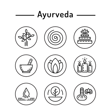 energy healing: Ayurveda illustration icon vata, pitta, kapha. Ayurvedic body types. Ayurvedic infographic. Healthy lifestyle. Harmony with nature.
