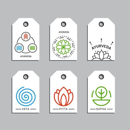 harmony nature: Ayurveda illustration doshas vata, pitta, kapha. Ayurvedic body types. Ayurvedic infographic. Healthy lifestyle. Harmony with nature.