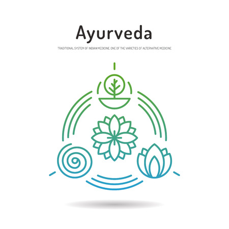 Ayurveda illustration icon vata, pitta, kapha. Ayurvedic body types. Ayurvedic infographic. Healthy lifestyle. Harmony with nature.
