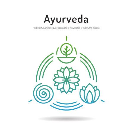 massage symbol: Ayurveda illustration icon vata, pitta, kapha. Ayurvedic body types. Ayurvedic infographic. Healthy lifestyle. Harmony with nature.
