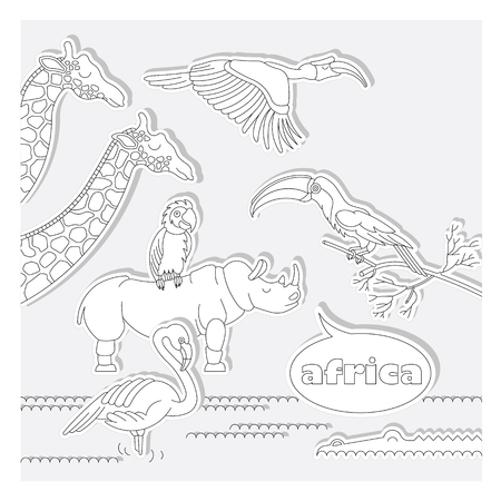 separately: Set of african animals and birds. Made in flat, lineart style. Easy recolor. Each character is separately grouped.