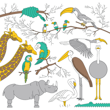 hipopotamo caricatura: Set of african animals and birds. african animals in outline style. Each animals and birds are isolated and separately grouped.