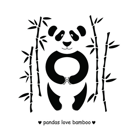 post cards: Flat illustration with panda surrounded by bamboo. Perfect for posters, invitations, post cards.