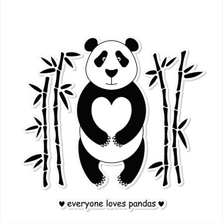 fur trees: Flat illustration with panda surrounded by bamboo. Perfect for posters, invitations, post cards.