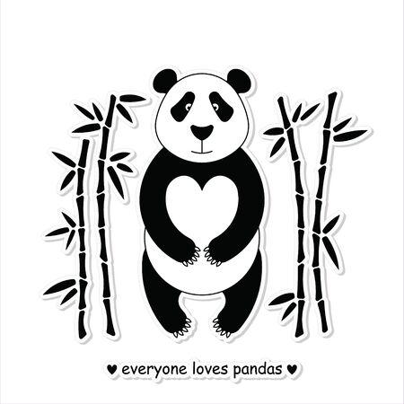arboles blanco y negro: Ilustraci�n plana con la panda rodeado de bamb�. Perfecto para carteles, invitaciones, postales.