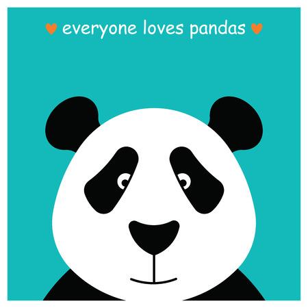 panda bear: Simple image of panda face. Made in , design template. Illustration