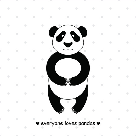 shape cub: Simple image of panda.  Isolated on the background of grey polka dots.