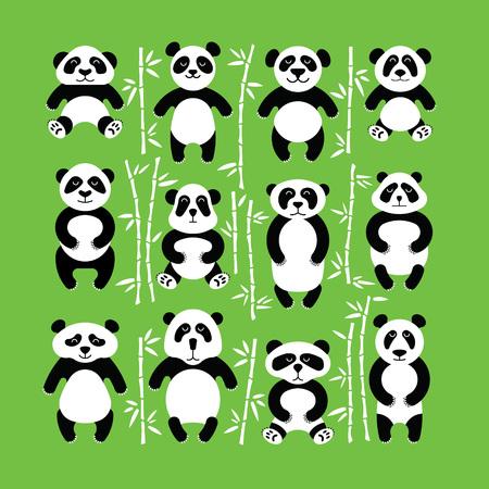 panda bear: Flat set of pandas surrounded by bamboo. Different cartoon images.