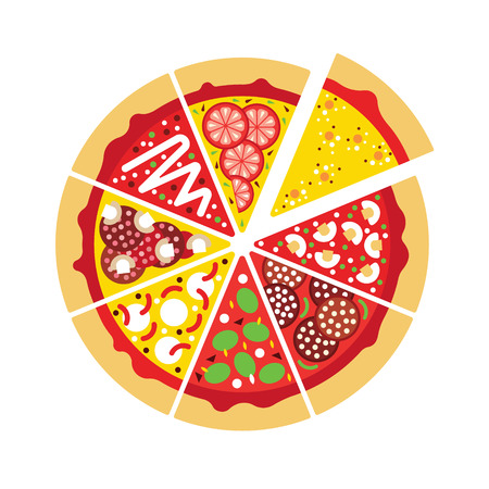italian pizza: Flat pizza icon.