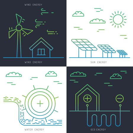 alternative energy sources: Ecology power concept. New energy type. Alternative energy. Alternative wind energy station. New eco energy vector illustration. Ecology concept. Eco energy concept outline. Alternative energy type.