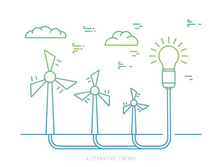 Ecology macht concept. Nieuw type energie. Alternatieve energie. Alternatieve windenergie station. Nieuwe eco energie vector afbeelding. Ecology concept. De energieconcept van Eco omtrek. Alternatieve soort energie. Vector Illustratie