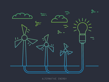 alternative energy sources: Ecology power concept. New energy type. Alternative energy. Alternative wind energy station. New eco energy vector illustration. Ecology concept. Eco energy concept outline. Alternative energy type.