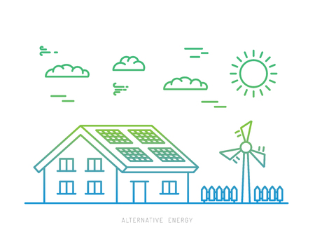power icon: Ecology power concept. New energy type. Alternative energy. Alternative wind energy station. New eco energy vector illustration. Ecology concept. Eco energy concept outline. Alternative energy type.