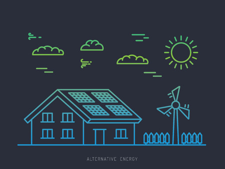 illustrazione energia alternativa. Concetto di energia alternativa. Energia solare. Pannelli solari. Energia eolica. Vento generatore elettrico.