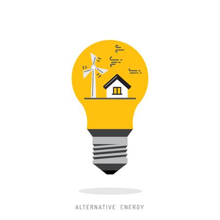 alternative: Ecology power concept. New energy type. Alternative energy. Alternative wind energy station. New eco energy vector illustration. Ecology concept. Eco energy concept outline. Alternative energy type.