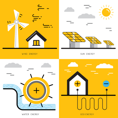 wind power: Ecology power concept. New energy type. Alternative energy. Alternative wind energy station. New eco energy vector illustration. Ecology concept. Eco energy concept outline. Alternative energy type.