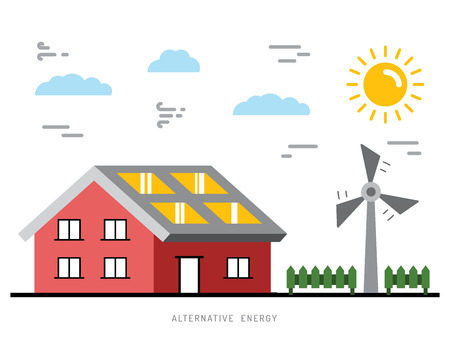 alternative: Alternative energy illustration. Alternative energy concept. Solar energy. Solar panels. Wind energy. Wind electrical generator.