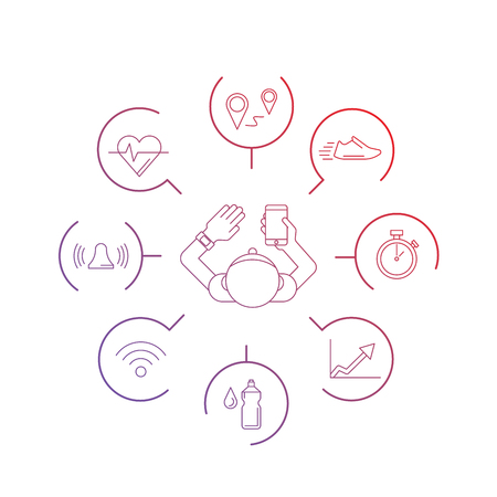 Wearable electronics, gadget fitness or activity tracker bracelet that reads the state of the body during daily life and sports activities in the gym or outdoors. Set icons performed in a linear style 免版税图像 - 54447730