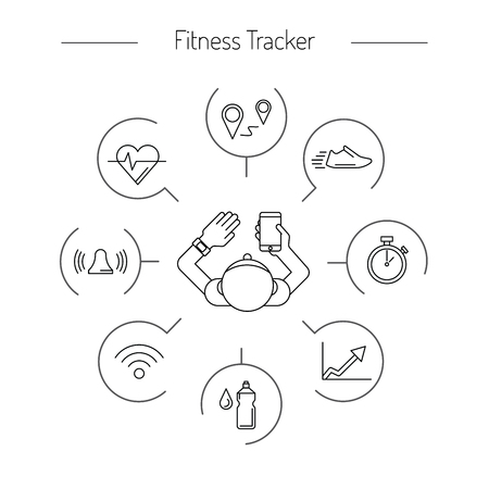 Fitness tracker with pedometer function. Fitness tracker with heart rate monitor. Fitness tracker with alarm function. Sync your fitness tracker with your smartphone. Lineal style. Stock Illustratie