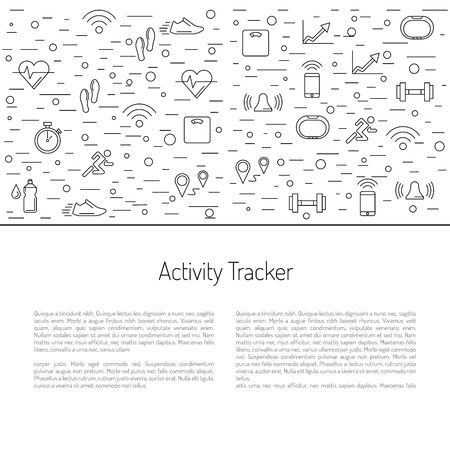 heart monitor: Illustrations fitness bracelet. Fitness tracker pedometer. Fitness tracker with alarm function. Sync fitness tracker and smart phone. Fitness tracker with heart rate monitor function. Linear style.