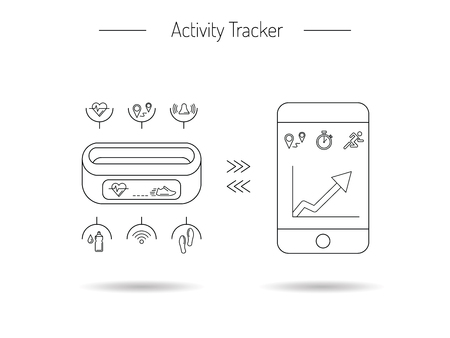heart monitor: Illustration fitness bracelet. Fitness tracker pedometer. Fitness tracker with alarm function. Sync fitness tracker and smart phone. Fitness tracker with heart rate monitor function. Linear style.
