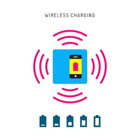 charging: Charging mobile phones. Wireless charging phones outline. Wireless battery charge. Charging smart phones