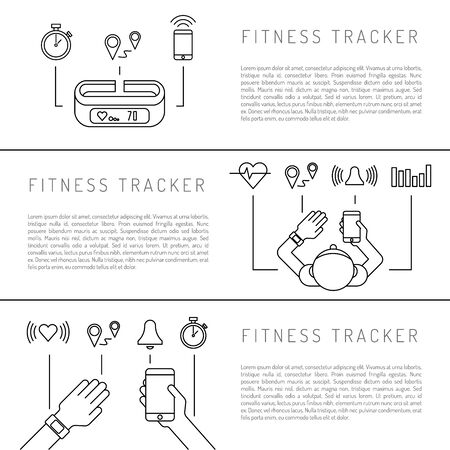 heart rate monitor: Fitness tracker with pedometer function. Fitness tracker with heart rate monitor. Fitness tracker with alarm function. Sync your fitness tracker with your smartphone. Lineal style. Illustration