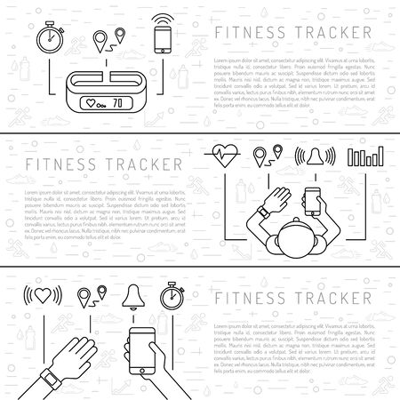 heart monitor: Fitness tracker with pedometer function. Fitness tracker with heart rate monitor. Fitness tracker with alarm function. Sync your fitness tracker with your smartphone. Lineal style. Illustration