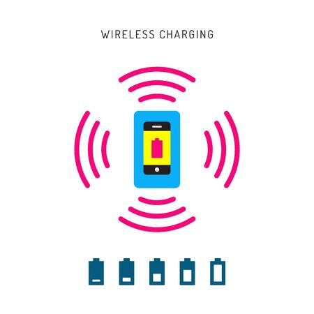 charge: Wireless charging phones. Wireless charging phones outline. Wireless battery charge.