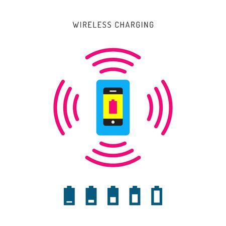 telephone cord: Wireless charging phones. Wireless charging phones outline. Wireless battery charge.