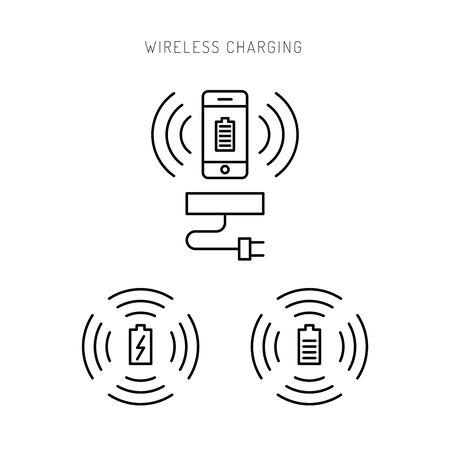 wireless: Wireless charging phones. Wireless charging phones outline. Wireless battery charge.