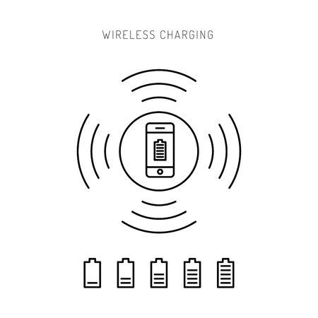 wattage: Wireless charging phones. Wireless charging phones outline. Wireless battery charge.